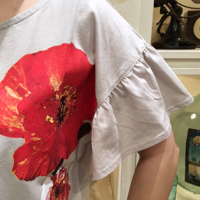 花柄TEE袖