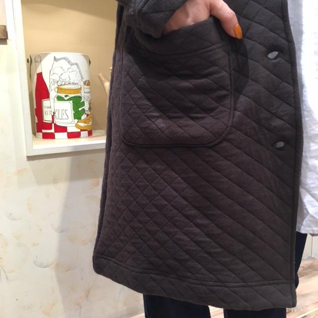 キルティングコートポケット