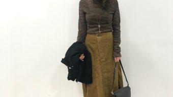 《Antguage》のコーデュロイラップスカート+ フレアGジャンで、大人秋カラーコーデ♪