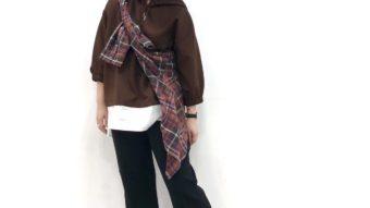 【ZAMPA】のレイヤード風パーカーで着まわしブラウンコーデ&齋藤からお知らせ